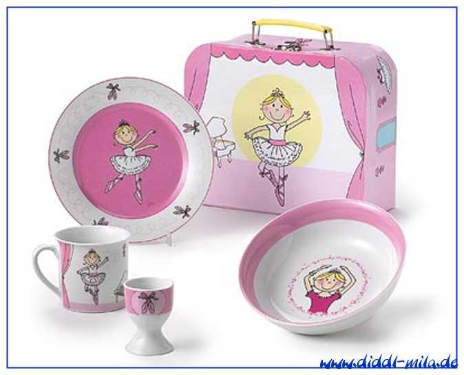 Mila Kinderkofferset mit Porzellan Geschirr - Ballerina Marie